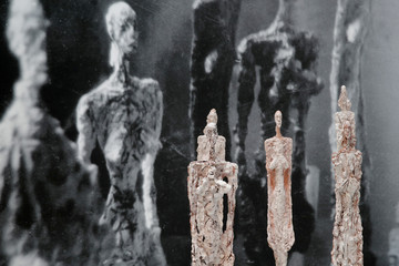"Sculptures ""Women of Venice"" (1956) are pictured during the press preview of the Giacometti Institute in Paris"