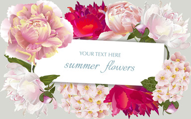 Vector vintage floral frame with summer flowers. Template for greeting cards, wedding decorations, sales.