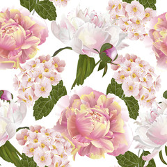 Vector botanical seamless pattern with peonies flowers.Modern floral pattern for textile, wallpaper, print, gift wrap, greeting or wedding background. Spring or summer design.