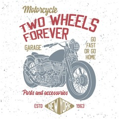 T-shirt or poster design with hand drawn illustration of chopper motorcycle