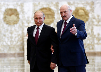 Belarusian President Alexander Lukashenko meets with Russian President Vladimir Putin to participate in the state council of the Union State of Russia and Belarus in Minsk