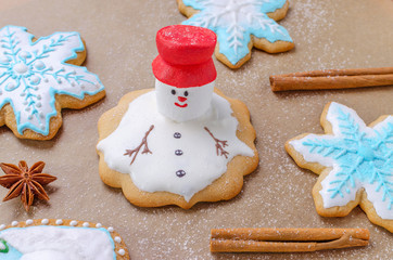 baking of christmas gingerbread like melting snowman, snowflakes and flour like snow