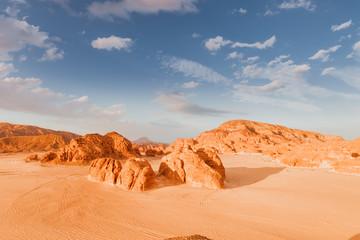 Sandy desert in Egypt at sunset