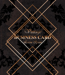 Business card background dark color Vector. Golden frames over classic baroque ornament pattern. Luxury design decors