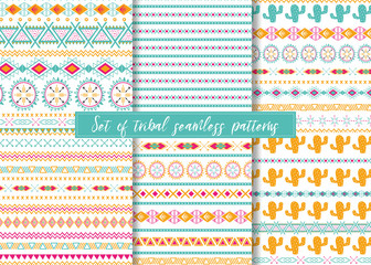 Set of six ethnic seamless patterns. Aztec geometric backgrounds. Stylish navajo design.
