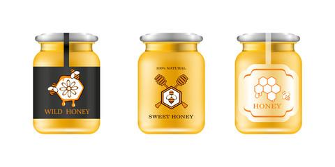 Realistic glass jar with honey. Food bank. Honey packaging design. Honey logo. Mock up glass jar with design label or badges. Vector illustrations.