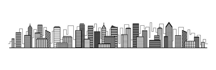 Vector city silhouette icon with windows. Vector Illustration