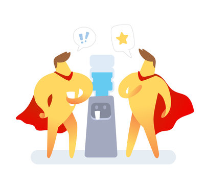Vector illustration of yellow color two super man with red cloak talking near water cooler on white background. Super hero cartoon character communication concept.