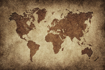Wall Mural - World Map Paper Vintage
