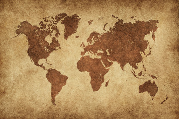 Poster Retro World Map Paper Vintage
