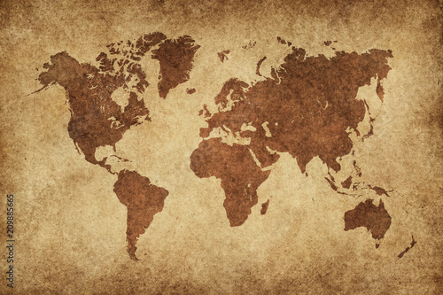Wall mural World Map Paper Vintage