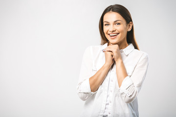 Wow! It's amazing news! It's wonderful I don't believe my eyes! Face portrait of smiling woman. Teeth smiling girl. One model portrait on white background.
