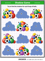 Shadow matching puzzle or game for kids and adults with colorful heaps of football and other balls. Answer included.
