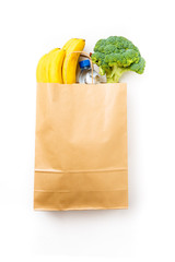 Photo of paper bag with broccoli and bananas, bottle of water