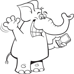 Black and white illustration of an elephant holding a cell phone.