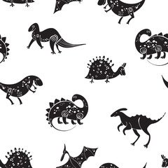 Seamless pattern with silhouettes of cartoon dinosaurs on a white background. Monochrome vector illustration.