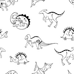 Seamless pattern with cartoon dinosaurs on a white background. Monochrome vector illustration.