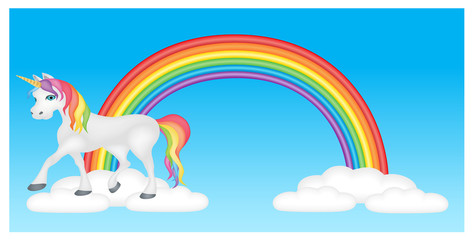 Unicorn with rainbow and clouds in blue sky