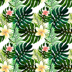 Watercolor, tropical green leaves, Monstera, palm, seamless pattern