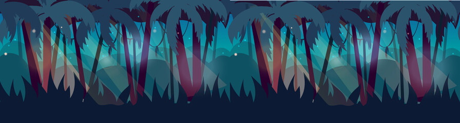 Panorama with Jungle Rainforest landscape. Vector illustration for your design