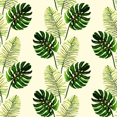 Watercolor, tropical green leaves, Monstera,palm, seamless pattern