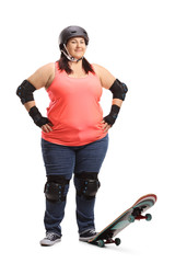 Overweight woman with a skateboard and protective equipment