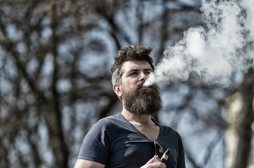 Electronic cigarette concept. Man with long beard and clouds of smoke looks relaxed. Man with beard and mustache on calm face, branches on background, defocused. Bearded man smokes vape on sunny day