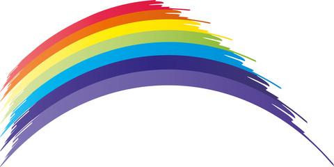 Leuchtender abstrakter Regenbogen in vielen bunten Farben am Himmel