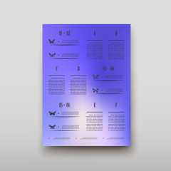 Leaflet cover infographics presentation abstract geometric background, layout in A4 set technology brochure flyer design statistics template vector shadow