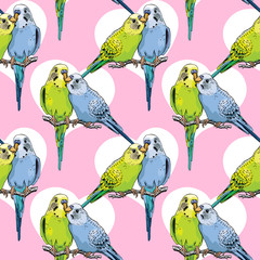 Seamless pattern. Two Beautiful little green and blue Wavy Parrots kiss on a pink background. Vector illustration.