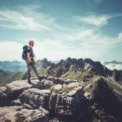 Hiker standing on top of Hindelanger Via Ferrata