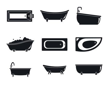 Bathtub interior icons set. Simple illustration of 9 bathtub interior vector icons for web