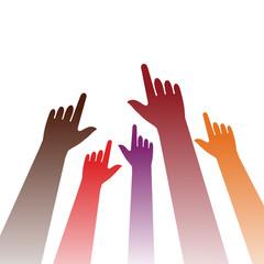 viele Finger zeigen