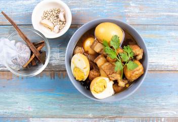 sweet brown Stewed pork gravy in bowl