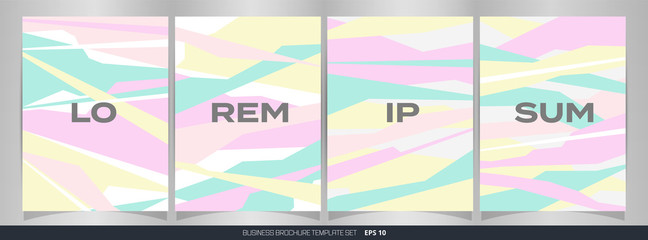Abstract set of colorful free shape pattern brochure background.