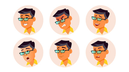Man Avatar People Vector. Korean, Thai, Vietnamese. Facial Emotions. User Person. Expressive Picture. Pretty User. Happy, Unhappy. Isolated Flat Cartoon Illustration