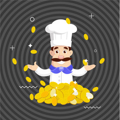 Fat Cartoon Chef rich Flat Vector Illustration Design
