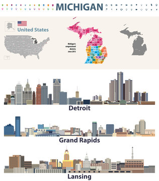 USA_MichiganMichigan's congressional districts map with capital and major cities skylines of Michigan. Vector illustration
