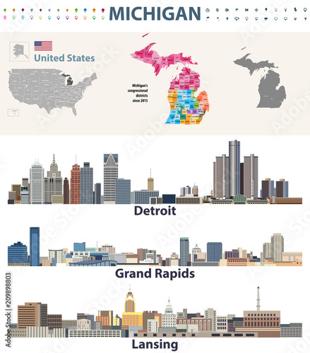 Fototapete USA_MichiganMichigan's congressional districts map with capital and major cities skylines of Michigan. Vector illustration