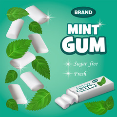 Mint gum concept background. Realistic illustration of mint gum vector concept background for web design