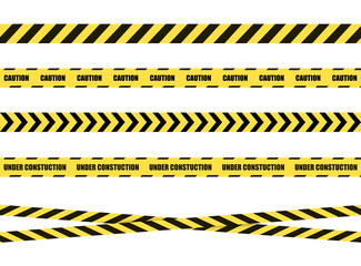 Vector Danger Sign Ribbon, Tape Isolated on White Background,Black and Yellow.