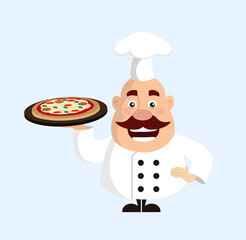 Fat Cartoon Chef with pizza Flat Vector Illustration Design