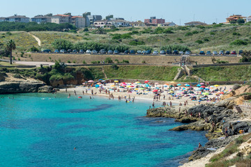 view of sardinian beach in sunny day of summer