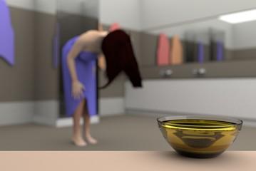 jojoba oil in the bathroom, 3D illustration