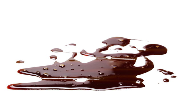 old engine oil spill and splash isolated on white background, texture