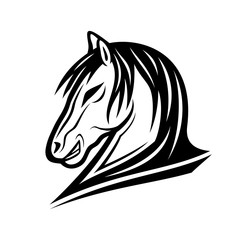 Black horse sign on a white background.