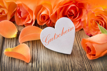 Dekoration  -   Herz und Rosen   -   Gutschein