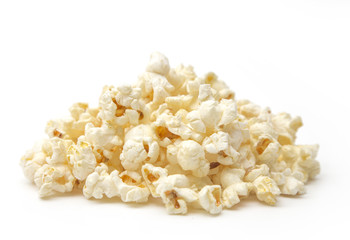 Simple Sweet and Salty Popcorn on a White Background
