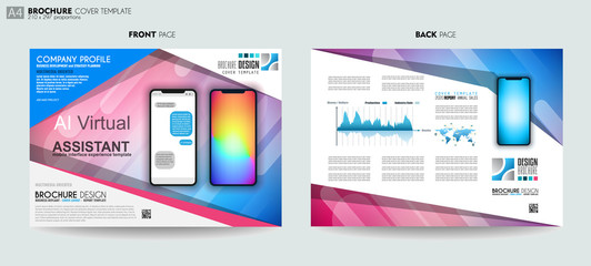Brochure layout Mobile AI artificial intelligent chat bot support template and UI phone