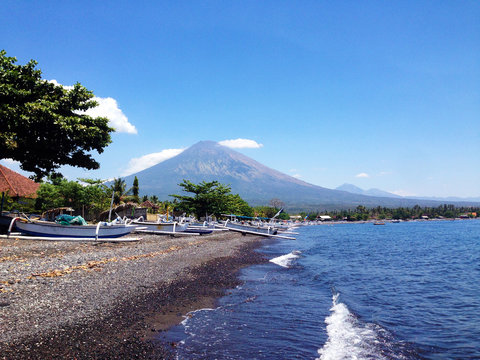beach in Amed with view of Mount Agung, Bali, Indonesia